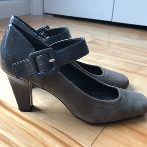 Franco Sarto Thompson suede and patent maryjanes